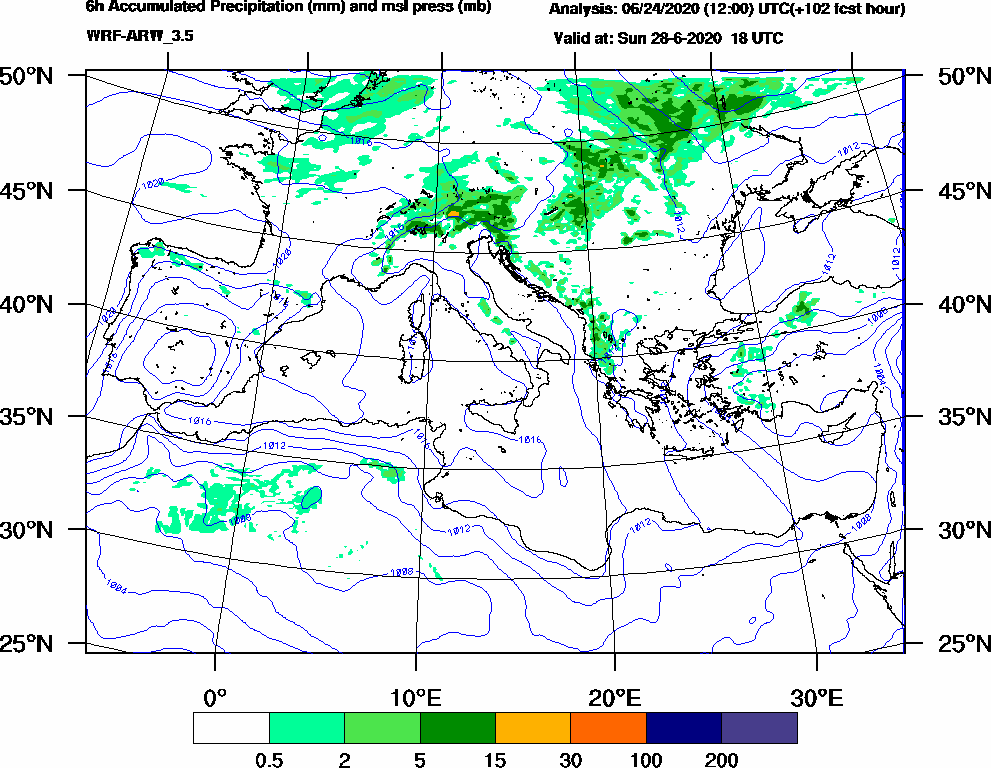 6h Accumulated Precipitation (mm) and msl press (mb) - 2020-06-28 12:00