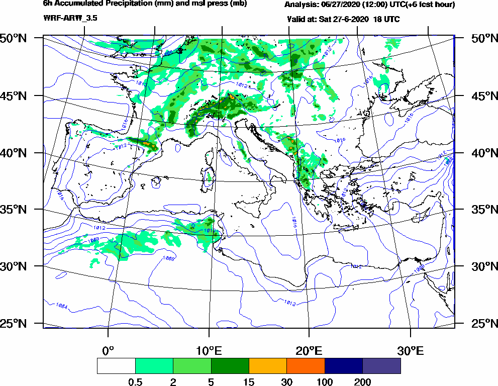 6h Accumulated Precipitation (mm) and msl press (mb) - 2020-06-27 12:00