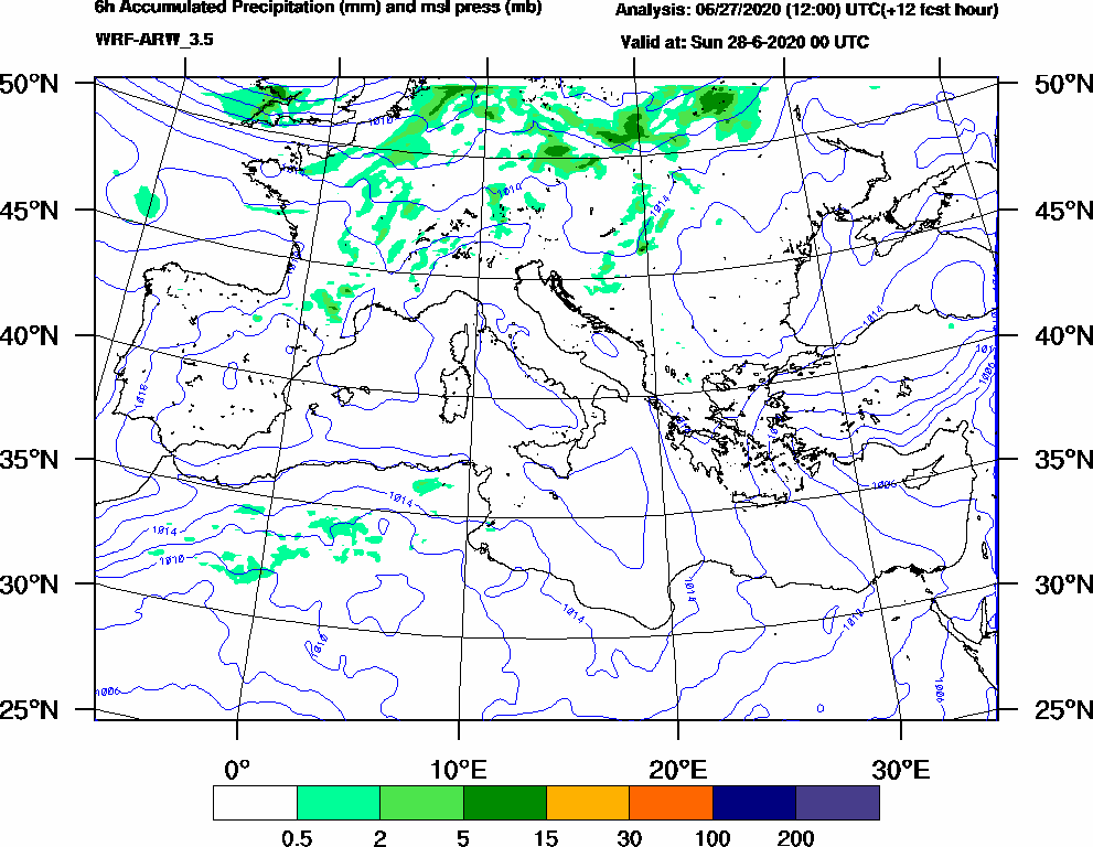 6h Accumulated Precipitation (mm) and msl press (mb) - 2020-06-27 18:00