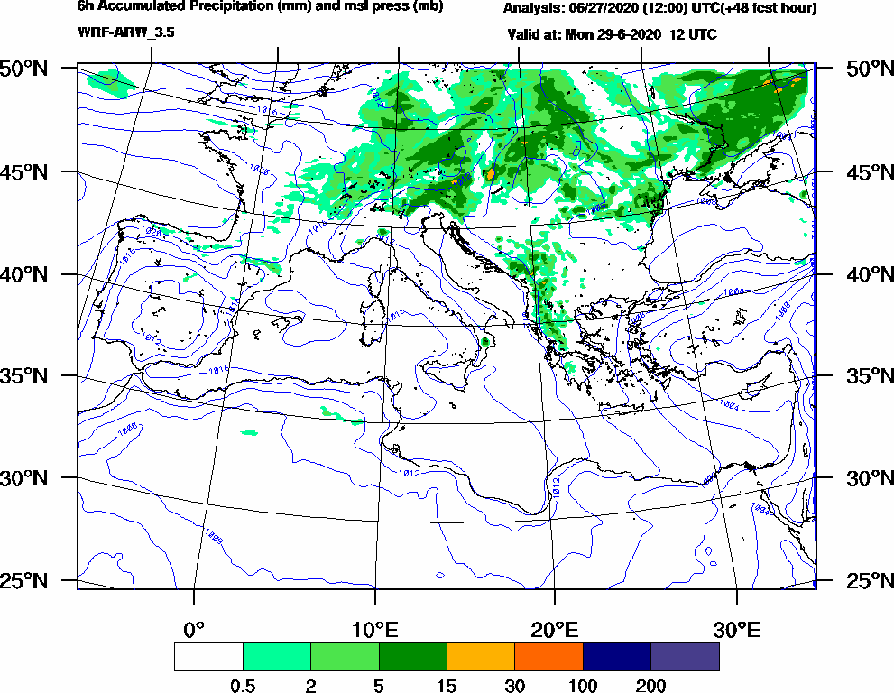 6h Accumulated Precipitation (mm) and msl press (mb) - 2020-06-29 06:00