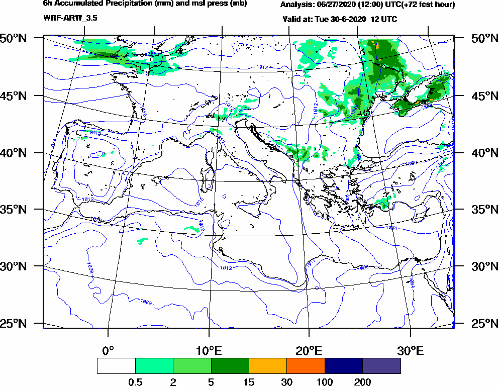 6h Accumulated Precipitation (mm) and msl press (mb) - 2020-06-30 06:00