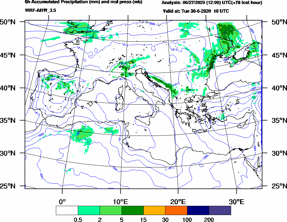 6h Accumulated Precipitation (mm) and msl press (mb) - 2020-06-30 12:00