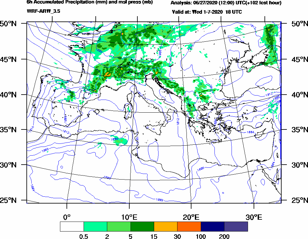 6h Accumulated Precipitation (mm) and msl press (mb) - 2020-07-01 12:00
