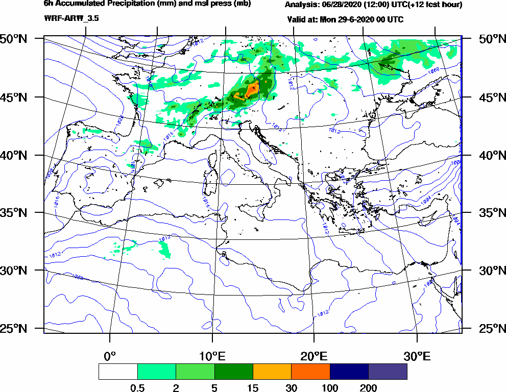 6h Accumulated Precipitation (mm) and msl press (mb) - 2020-06-28 18:00
