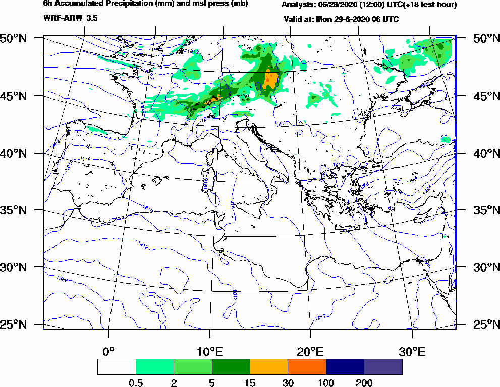 6h Accumulated Precipitation (mm) and msl press (mb) - 2020-06-29 00:00