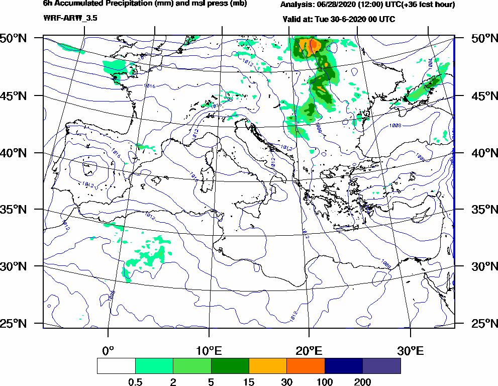 6h Accumulated Precipitation (mm) and msl press (mb) - 2020-06-29 18:00