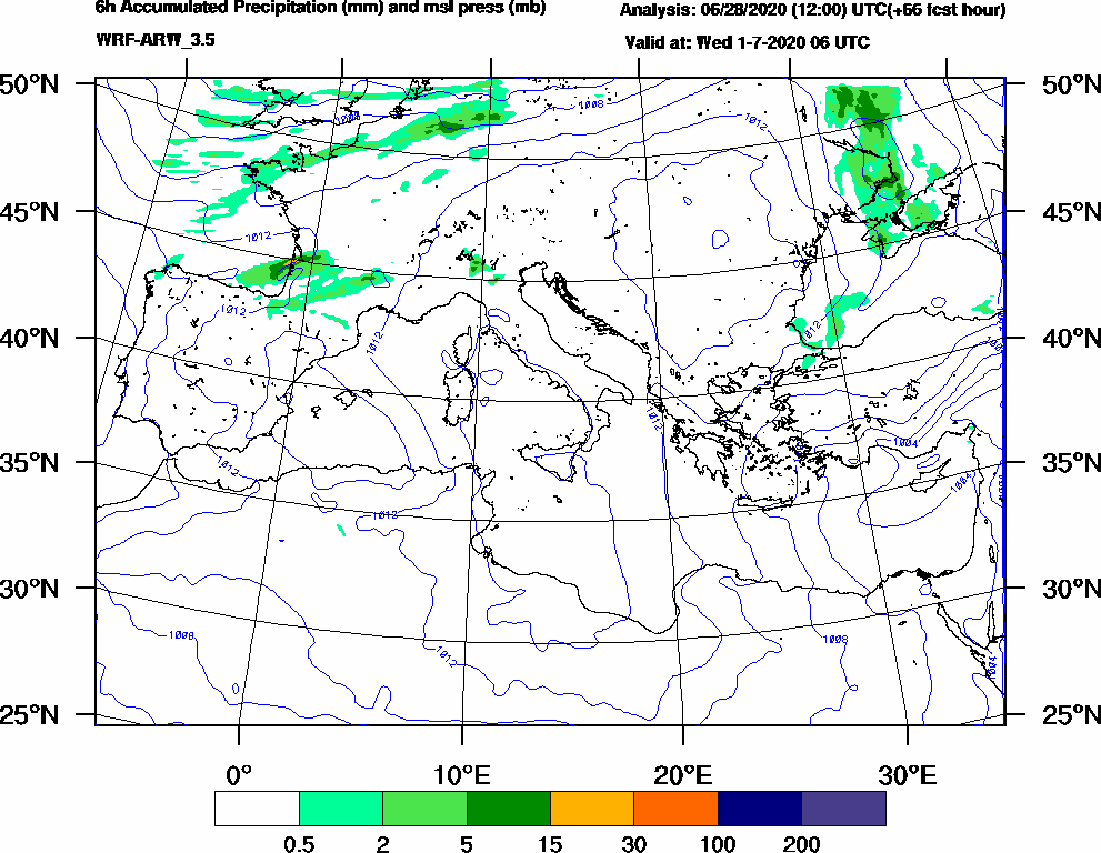6h Accumulated Precipitation (mm) and msl press (mb) - 2020-07-01 00:00