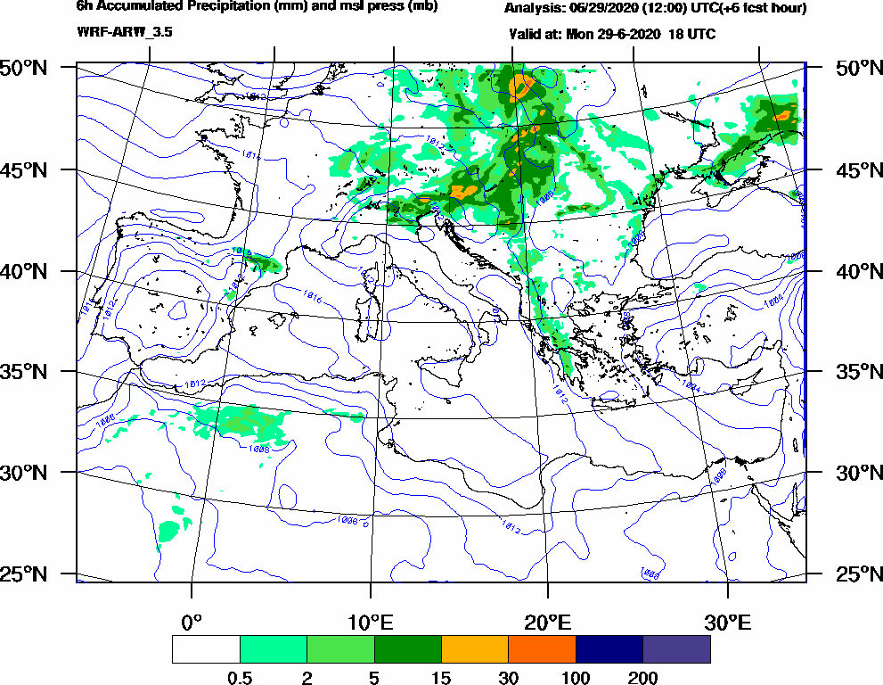 6h Accumulated Precipitation (mm) and msl press (mb) - 2020-06-29 12:00