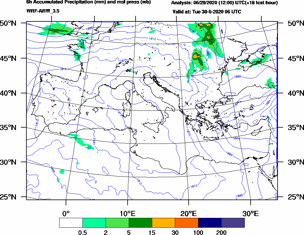 6h Accumulated Precipitation (mm) and msl press (mb) - 2020-06-30 00:00