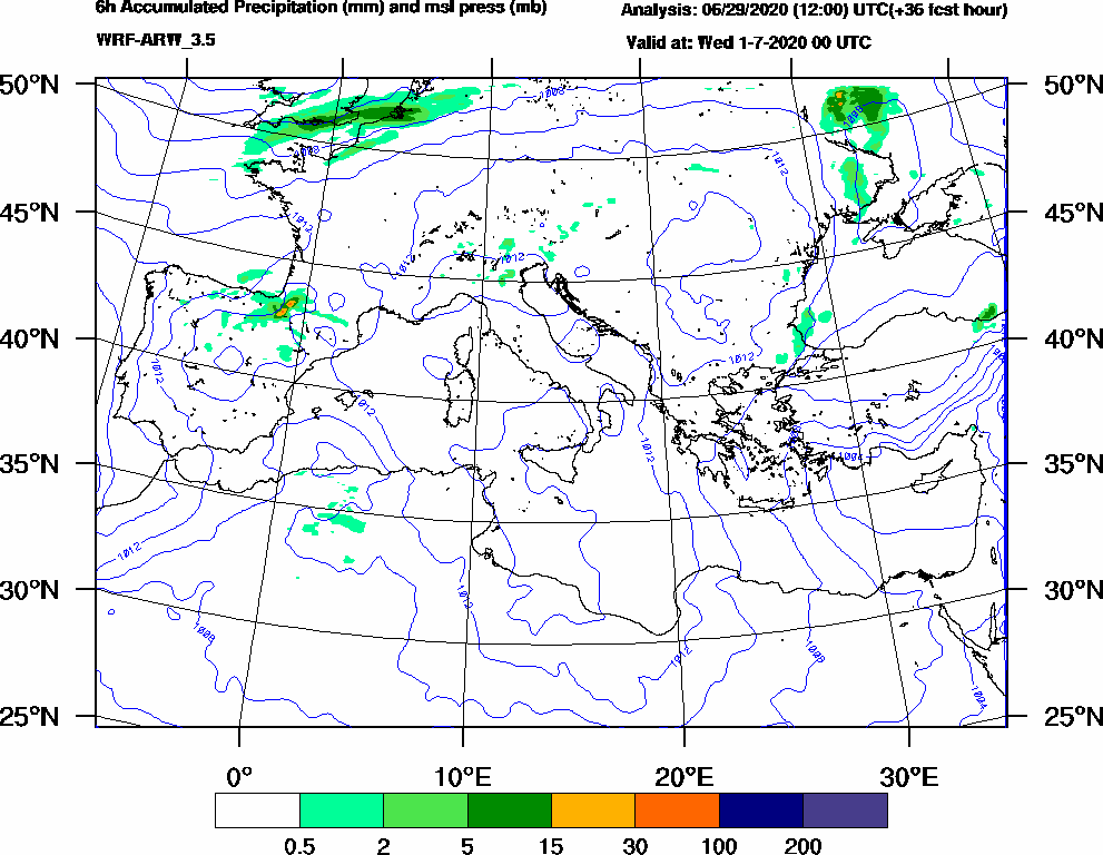 6h Accumulated Precipitation (mm) and msl press (mb) - 2020-06-30 18:00