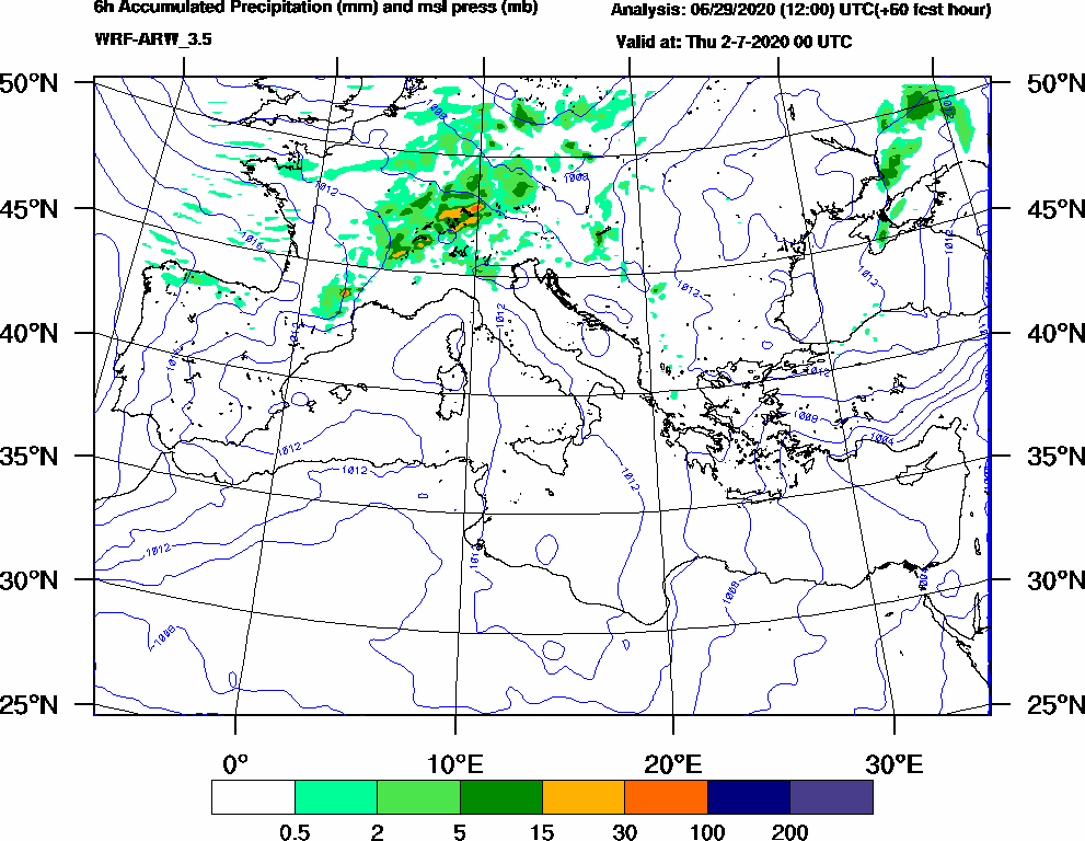 6h Accumulated Precipitation (mm) and msl press (mb) - 2020-07-01 18:00
