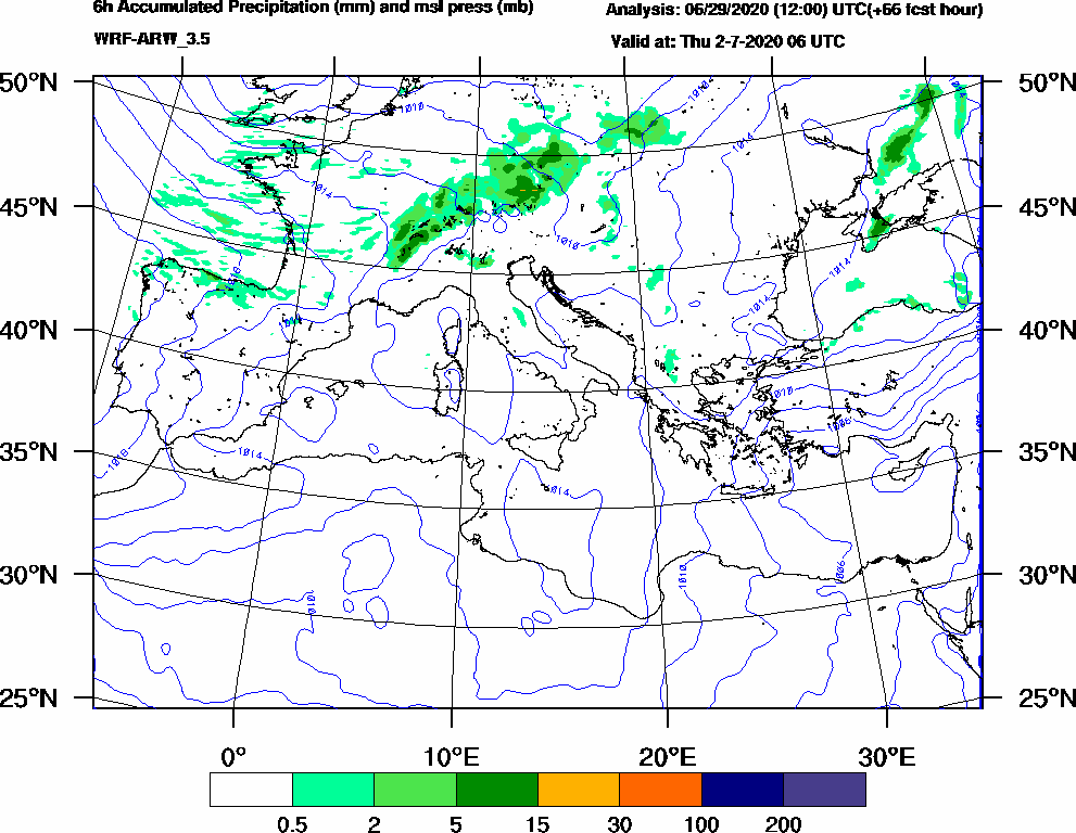6h Accumulated Precipitation (mm) and msl press (mb) - 2020-07-02 00:00