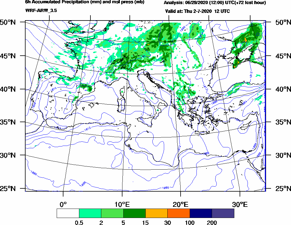 6h Accumulated Precipitation (mm) and msl press (mb) - 2020-07-02 06:00