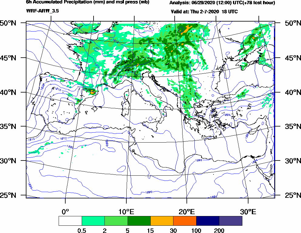 6h Accumulated Precipitation (mm) and msl press (mb) - 2020-07-02 12:00