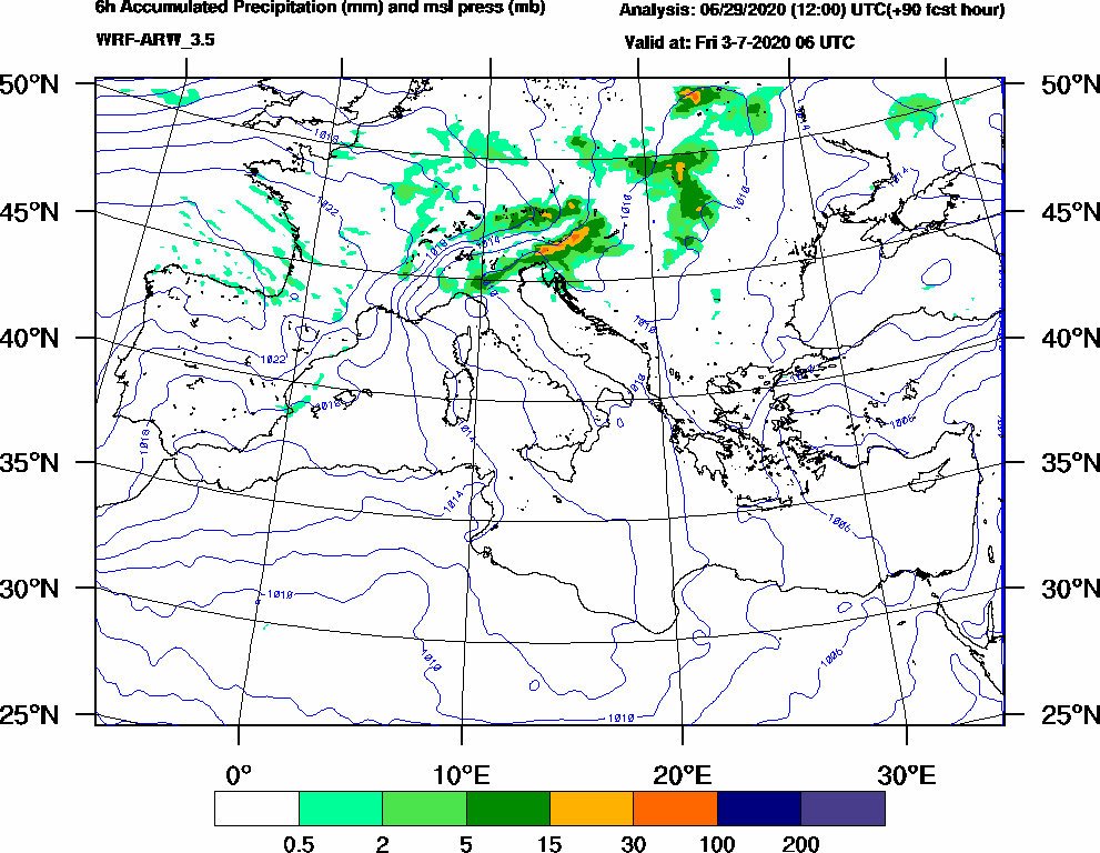 6h Accumulated Precipitation (mm) and msl press (mb) - 2020-07-03 00:00