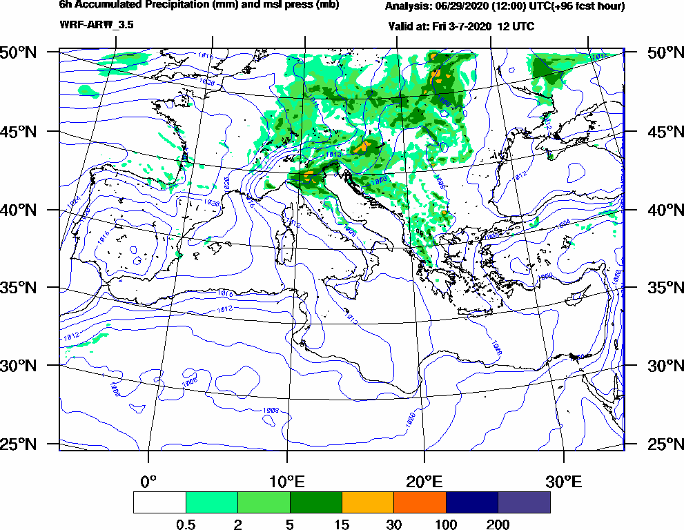6h Accumulated Precipitation (mm) and msl press (mb) - 2020-07-03 06:00