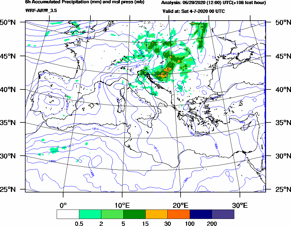 6h Accumulated Precipitation (mm) and msl press (mb) - 2020-07-03 18:00