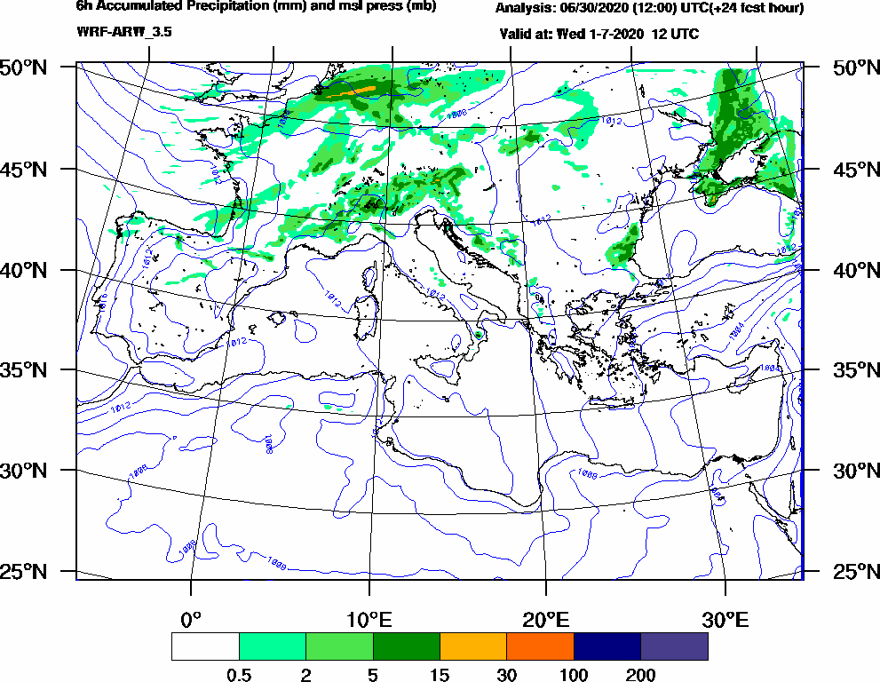 6h Accumulated Precipitation (mm) and msl press (mb) - 2020-07-01 06:00