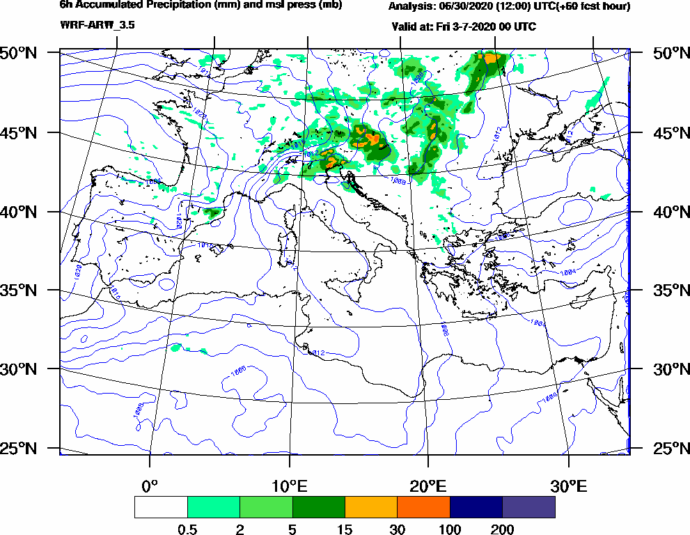 6h Accumulated Precipitation (mm) and msl press (mb) - 2020-07-02 18:00