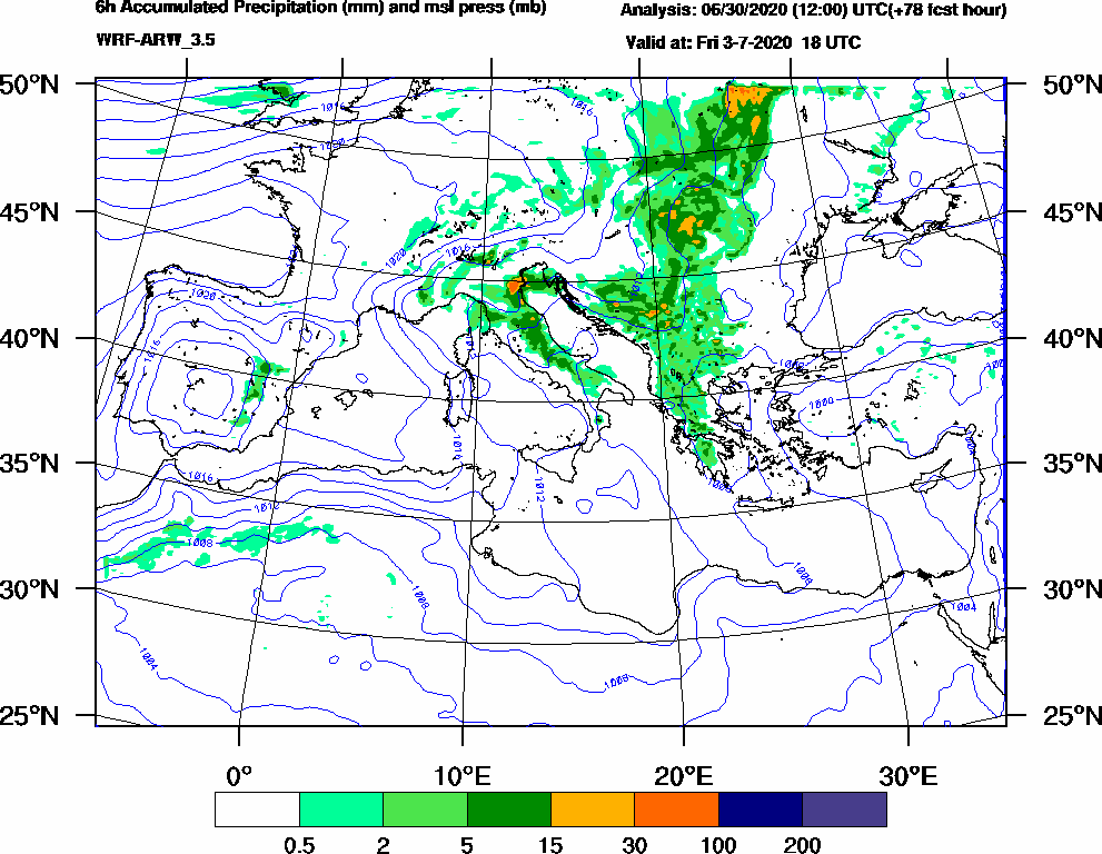 6h Accumulated Precipitation (mm) and msl press (mb) - 2020-07-03 12:00