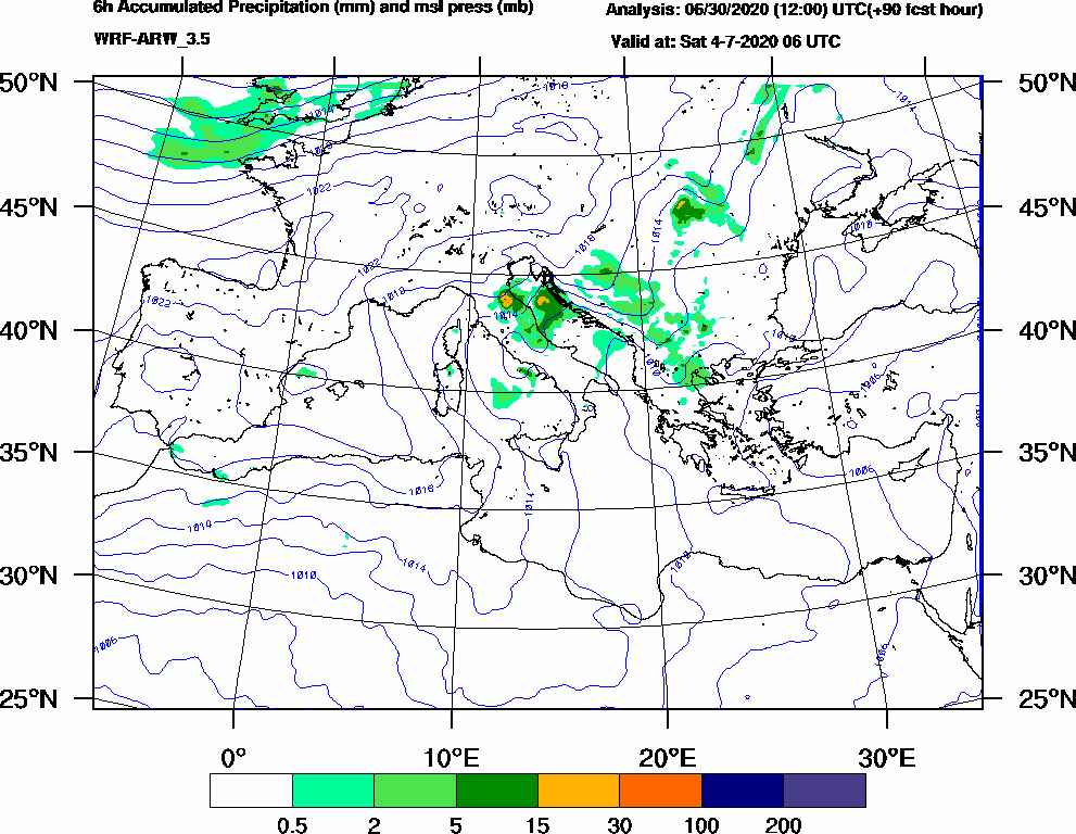 6h Accumulated Precipitation (mm) and msl press (mb) - 2020-07-04 00:00