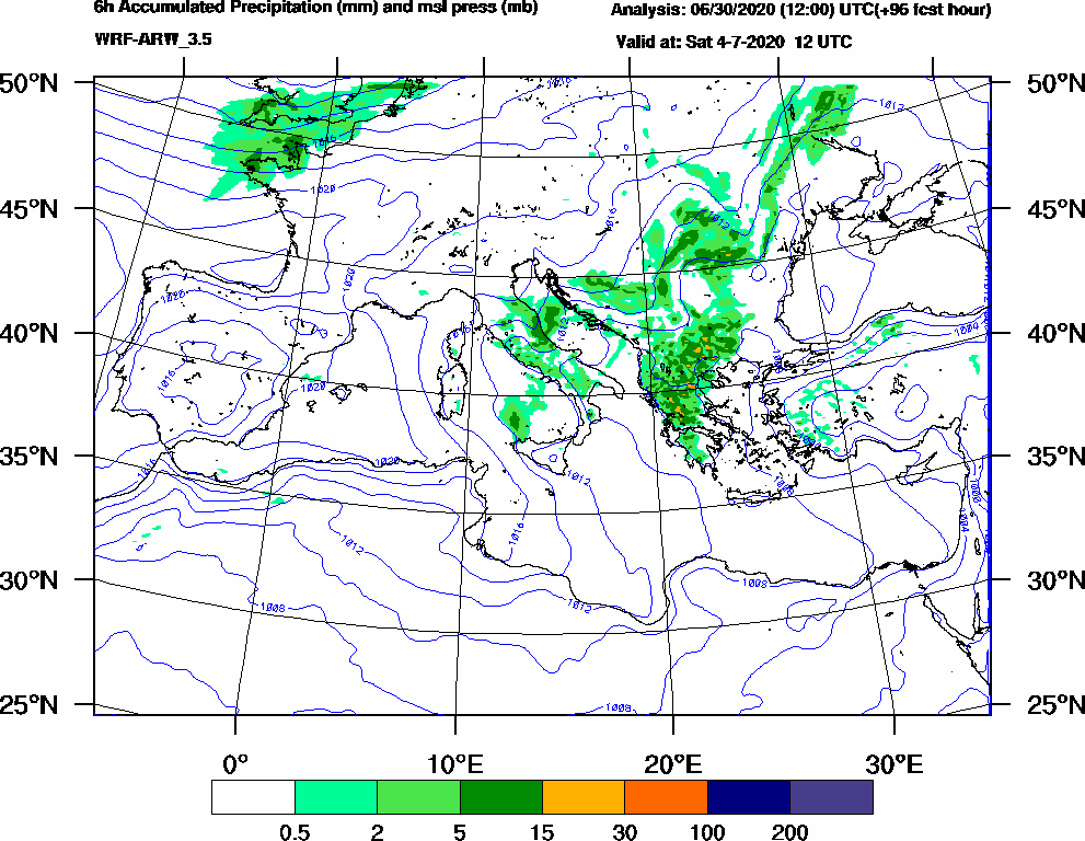 6h Accumulated Precipitation (mm) and msl press (mb) - 2020-07-04 06:00