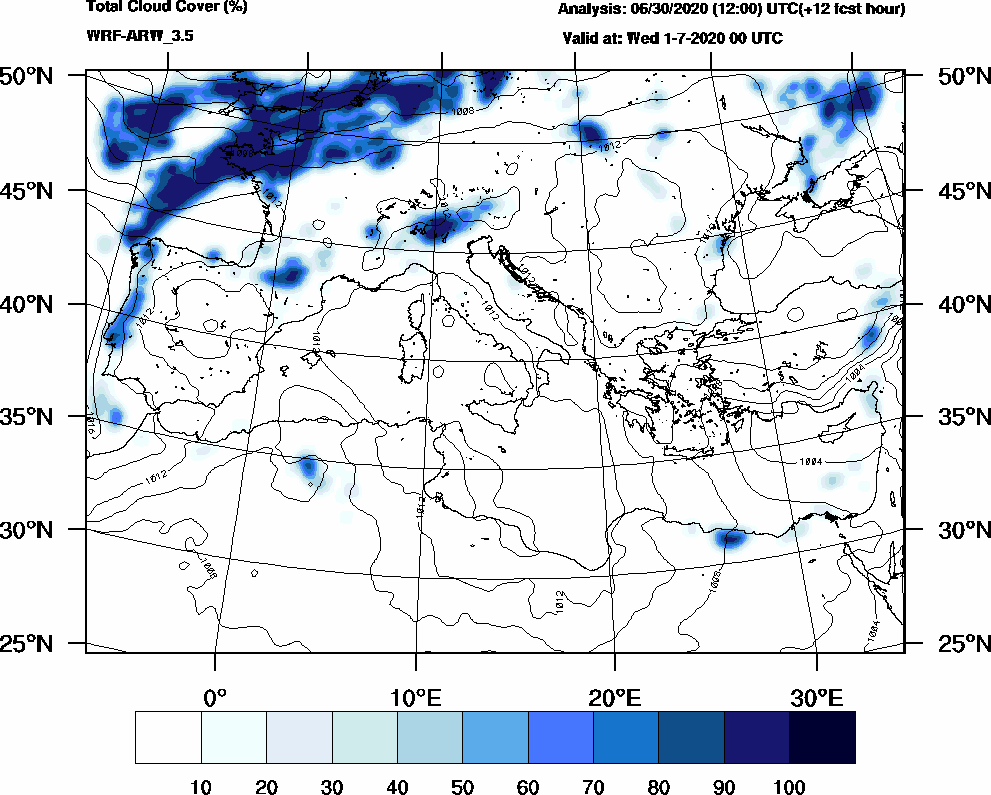 Total cloud cover (%) - 2020-06-30 18:00