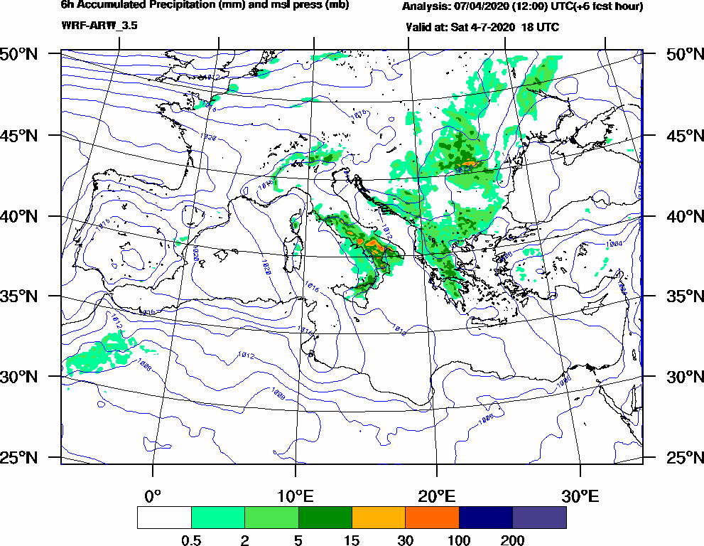 6h Accumulated Precipitation (mm) and msl press (mb) - 2020-07-04 12:00