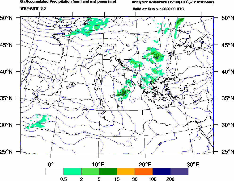 6h Accumulated Precipitation (mm) and msl press (mb) - 2020-07-04 18:00