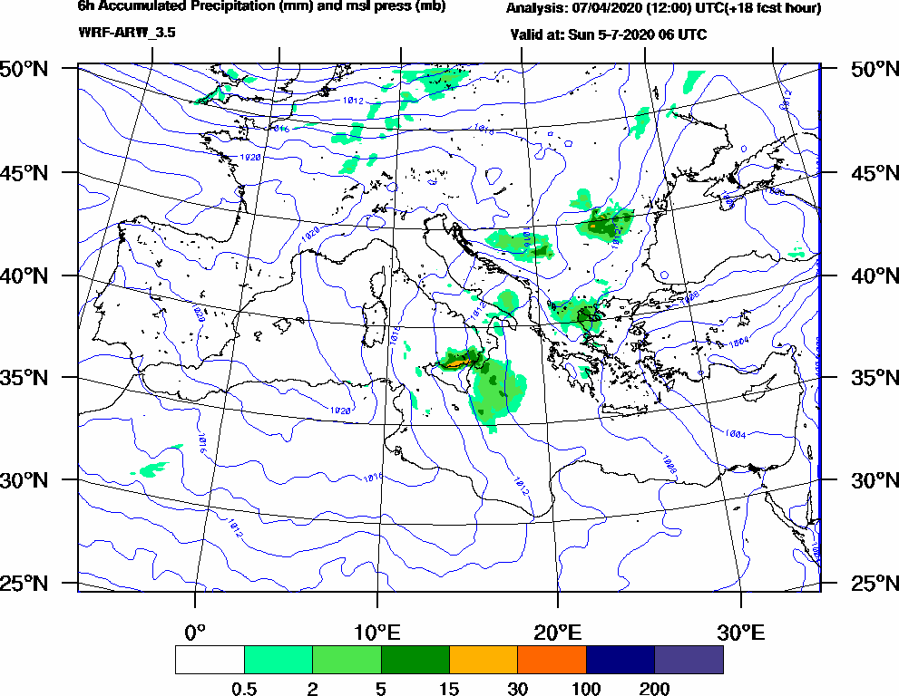 6h Accumulated Precipitation (mm) and msl press (mb) - 2020-07-05 00:00
