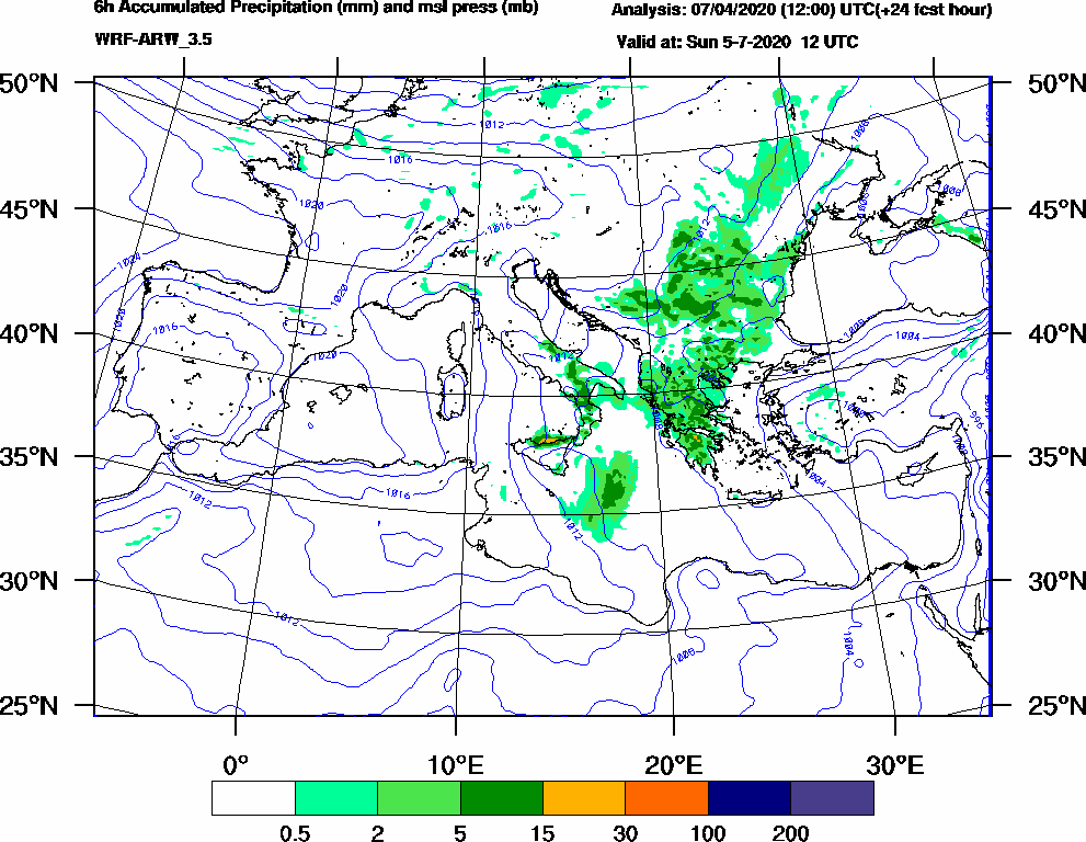 6h Accumulated Precipitation (mm) and msl press (mb) - 2020-07-05 06:00