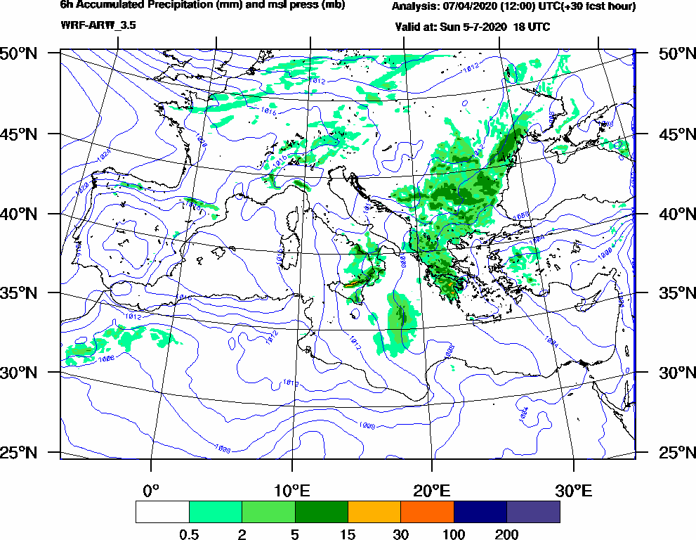 6h Accumulated Precipitation (mm) and msl press (mb) - 2020-07-05 12:00