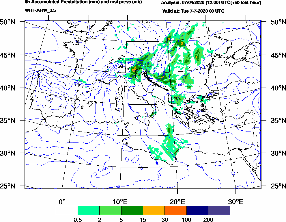 6h Accumulated Precipitation (mm) and msl press (mb) - 2020-07-06 18:00