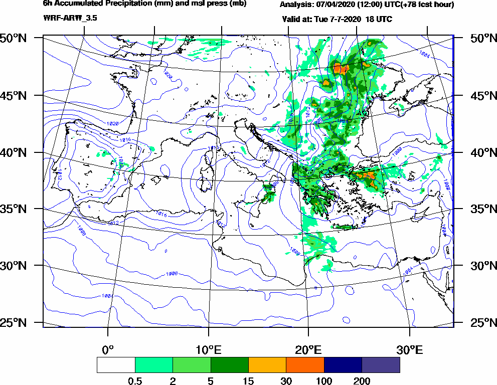 6h Accumulated Precipitation (mm) and msl press (mb) - 2020-07-07 12:00
