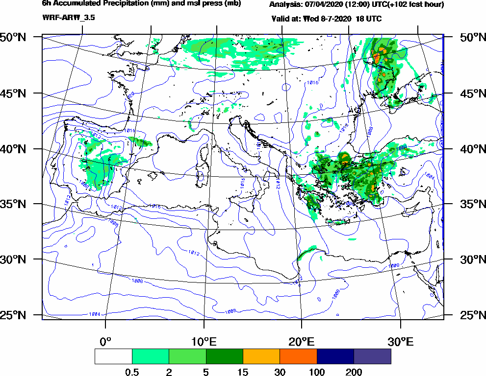 6h Accumulated Precipitation (mm) and msl press (mb) - 2020-07-08 12:00