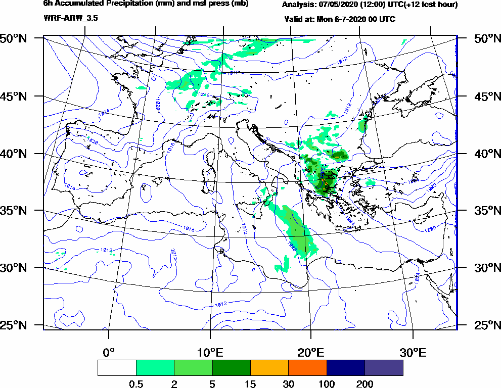 6h Accumulated Precipitation (mm) and msl press (mb) - 2020-07-05 18:00