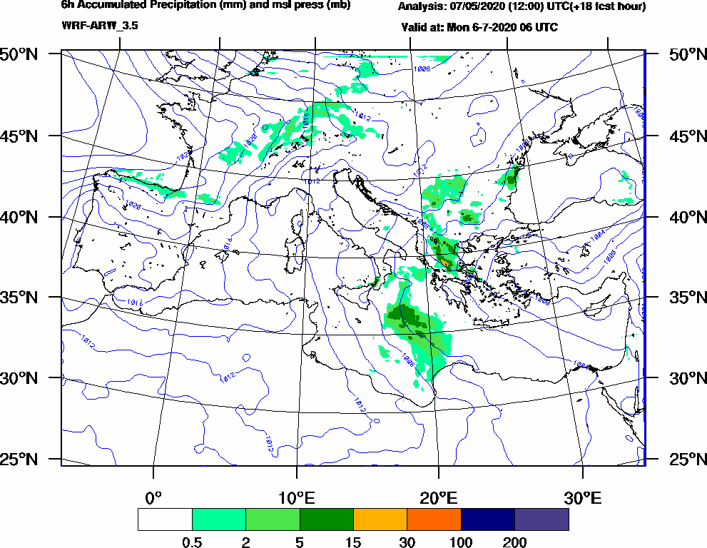 6h Accumulated Precipitation (mm) and msl press (mb) - 2020-07-06 00:00