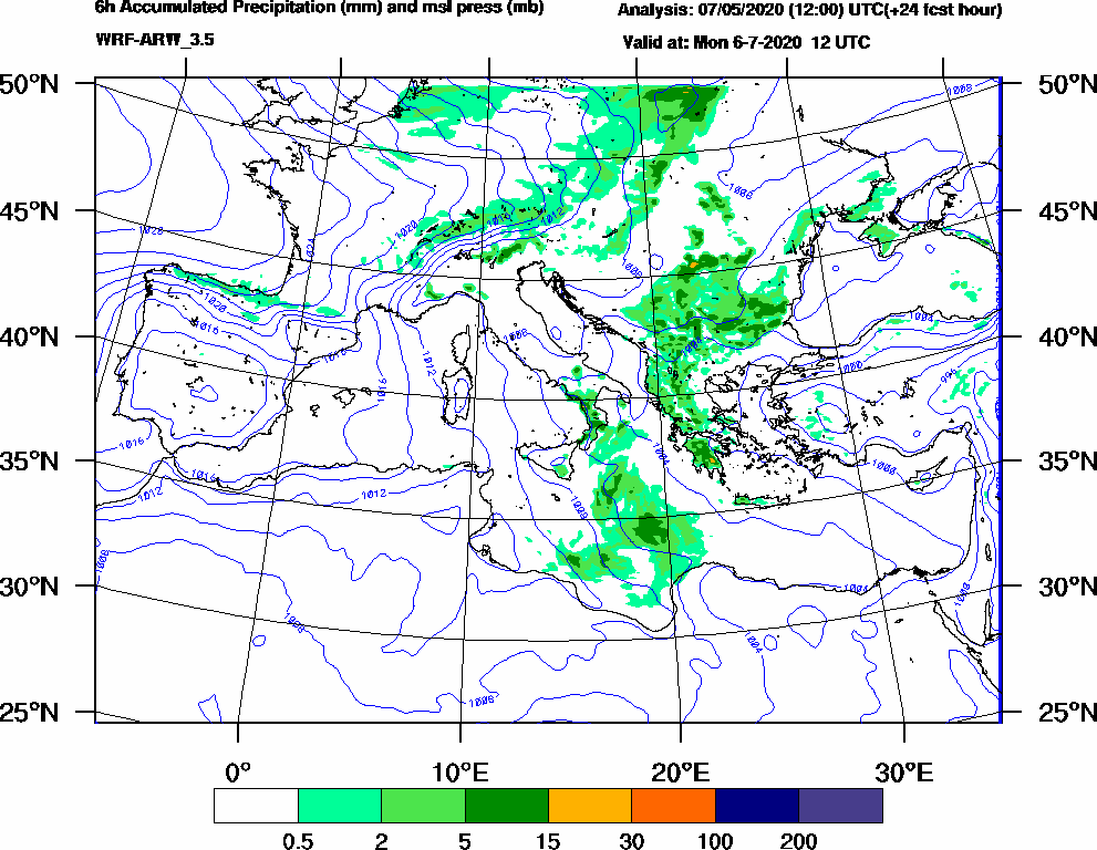 6h Accumulated Precipitation (mm) and msl press (mb) - 2020-07-06 06:00