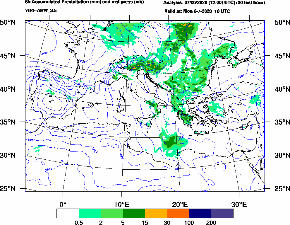 6h Accumulated Precipitation (mm) and msl press (mb) - 2020-07-06 12:00