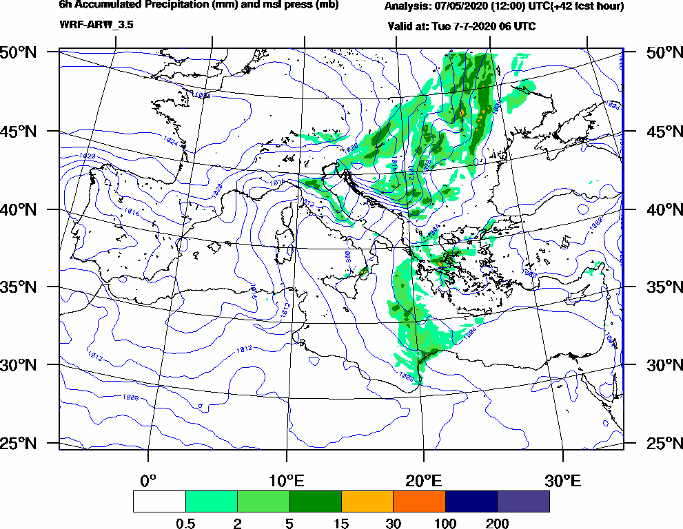 6h Accumulated Precipitation (mm) and msl press (mb) - 2020-07-07 00:00
