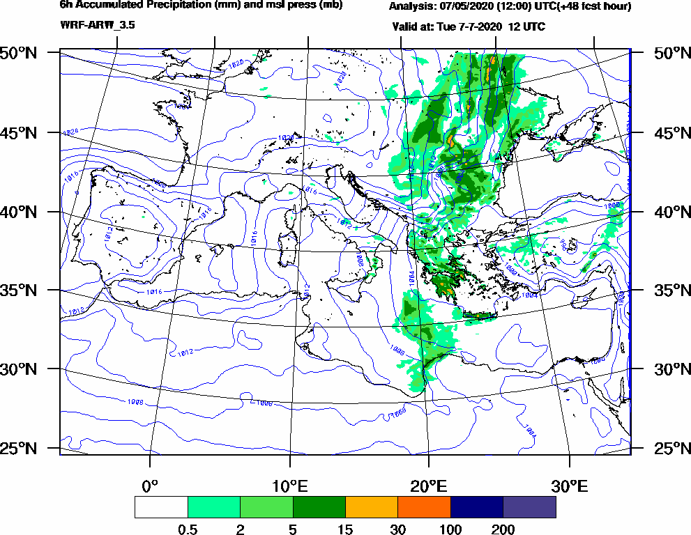 6h Accumulated Precipitation (mm) and msl press (mb) - 2020-07-07 06:00