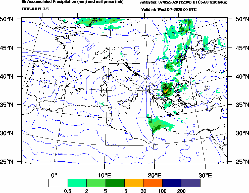 6h Accumulated Precipitation (mm) and msl press (mb) - 2020-07-07 18:00