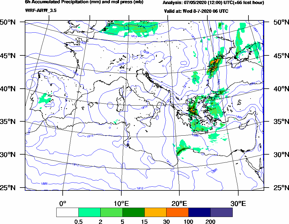 6h Accumulated Precipitation (mm) and msl press (mb) - 2020-07-08 00:00