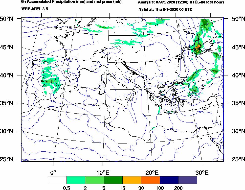 6h Accumulated Precipitation (mm) and msl press (mb) - 2020-07-08 18:00