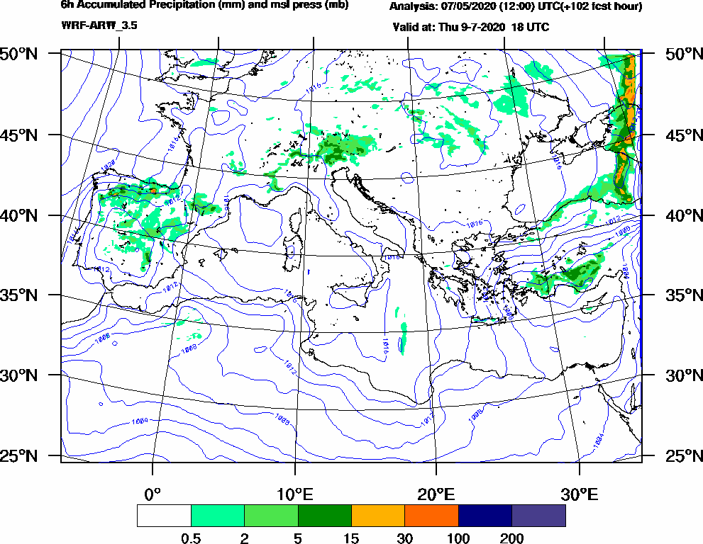 6h Accumulated Precipitation (mm) and msl press (mb) - 2020-07-09 12:00