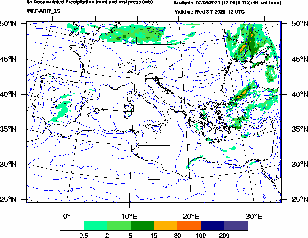 6h Accumulated Precipitation (mm) and msl press (mb) - 2020-07-08 06:00