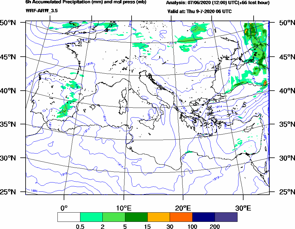 6h Accumulated Precipitation (mm) and msl press (mb) - 2020-07-09 00:00