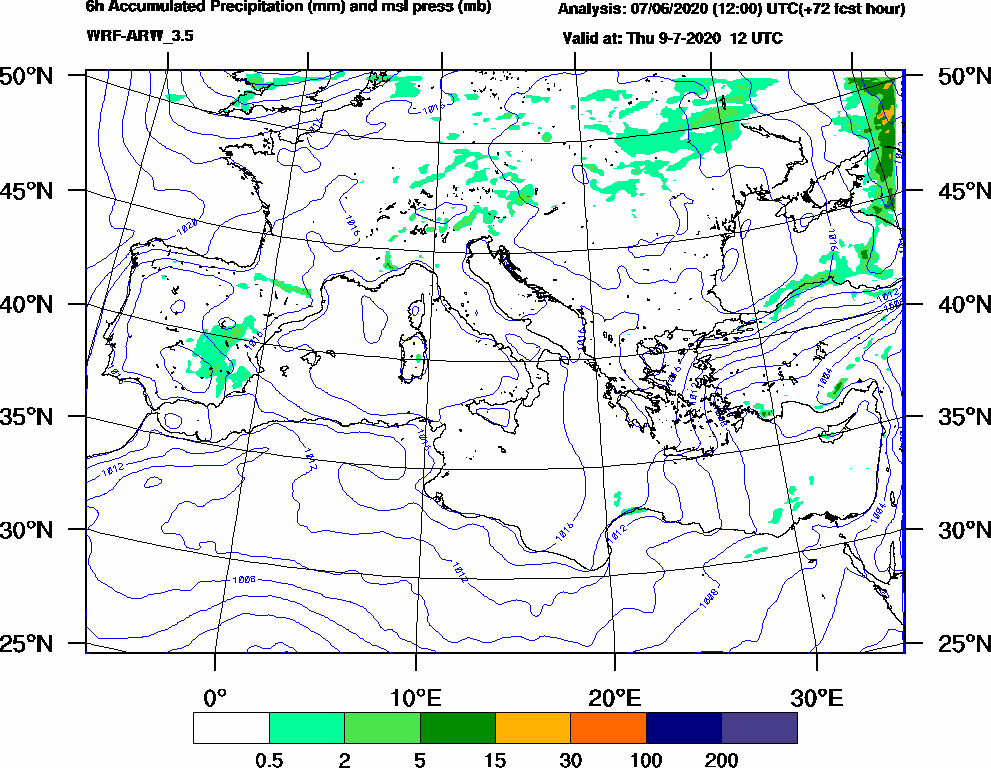 6h Accumulated Precipitation (mm) and msl press (mb) - 2020-07-09 06:00