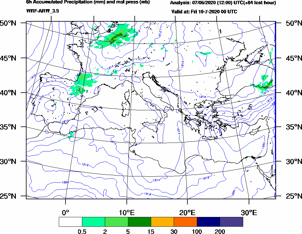 6h Accumulated Precipitation (mm) and msl press (mb) - 2020-07-09 18:00