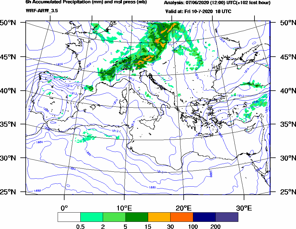 6h Accumulated Precipitation (mm) and msl press (mb) - 2020-07-10 12:00